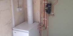 Heat only boiler with high level flue